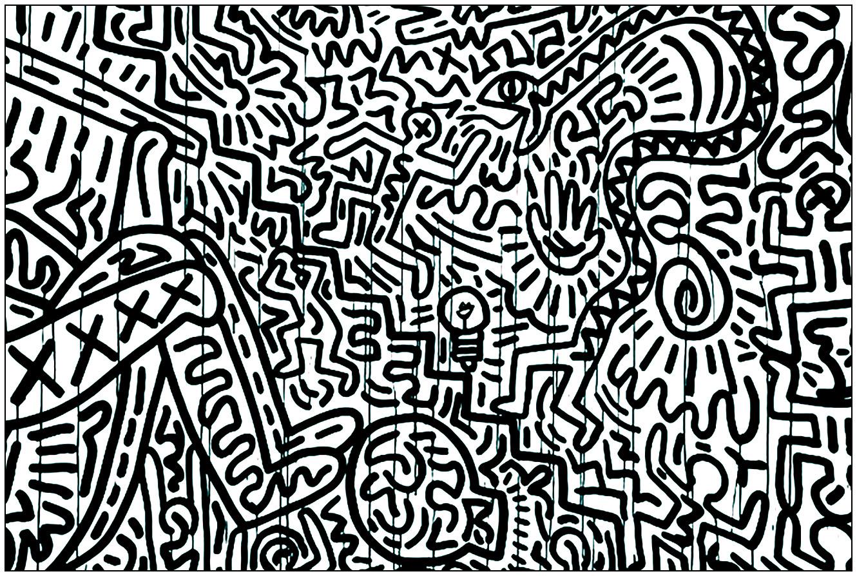 A partir d'un tableau de Keith Haring, voici un coloriage difficile qui aurait pu être rangé dans la catégorie 'anti-stress'