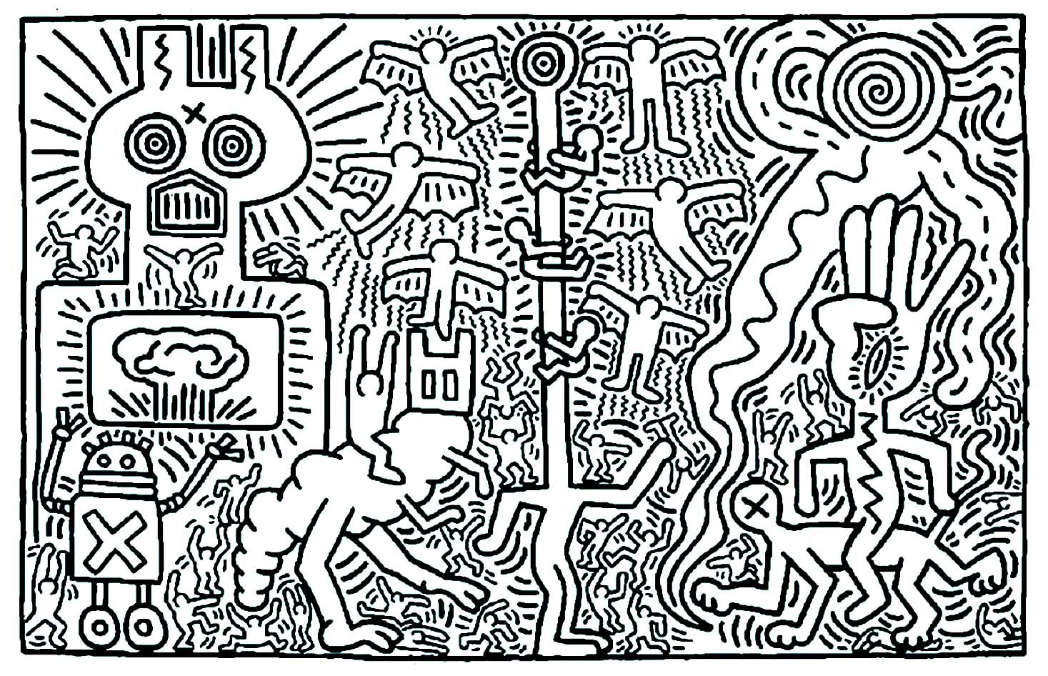 Coloriage créé à partir d'une oeuvre de Keith Haring