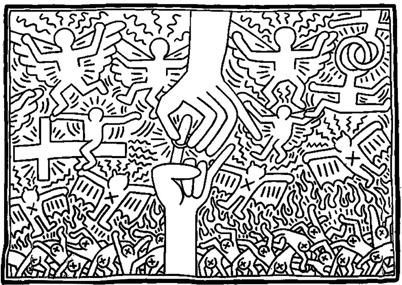 Coloriage à partir d'une oeuvre de Keith Haring