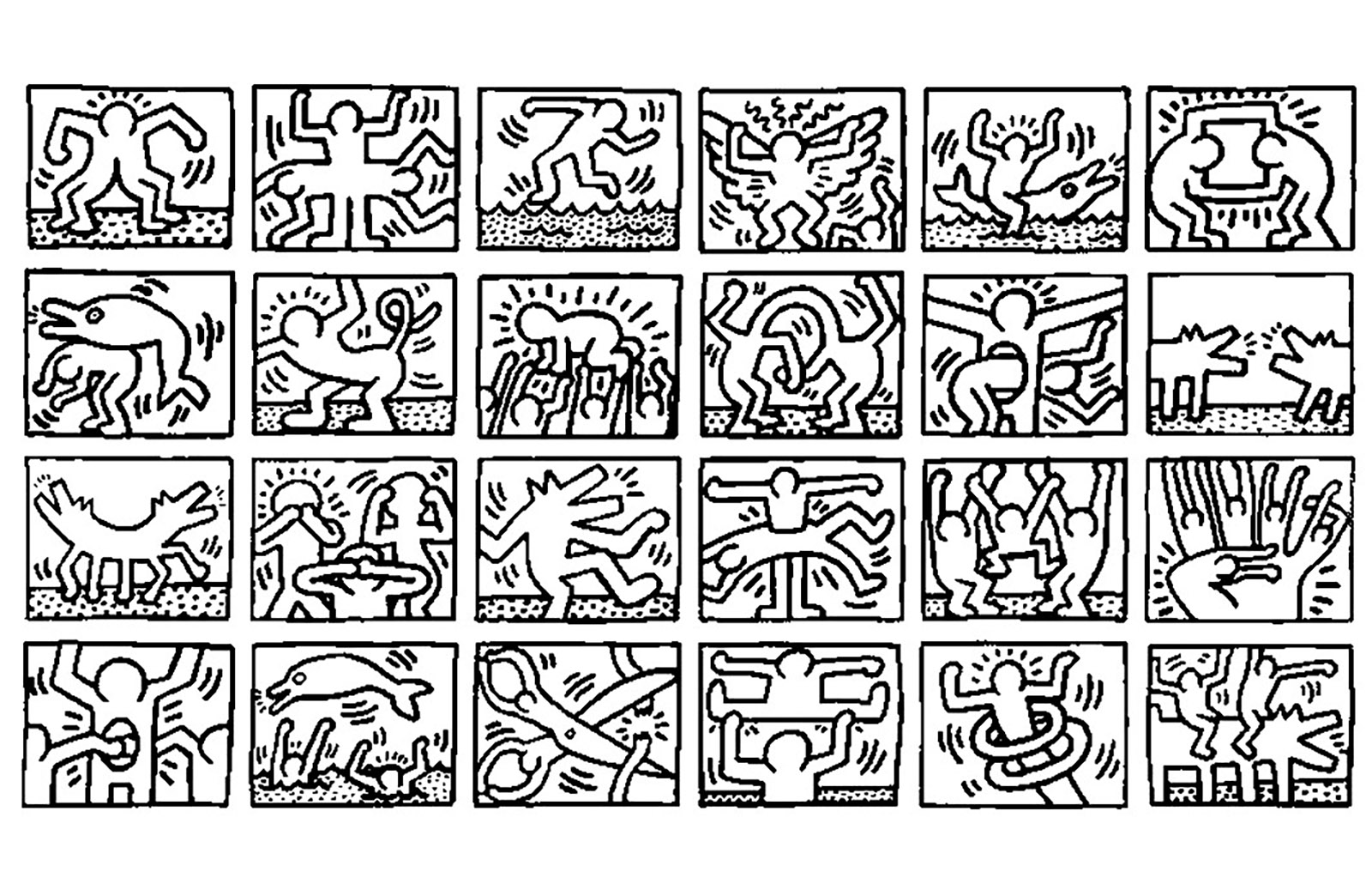 Keith haring 4 pop art coloriages difficiles pour adultes - Coloriage art ...