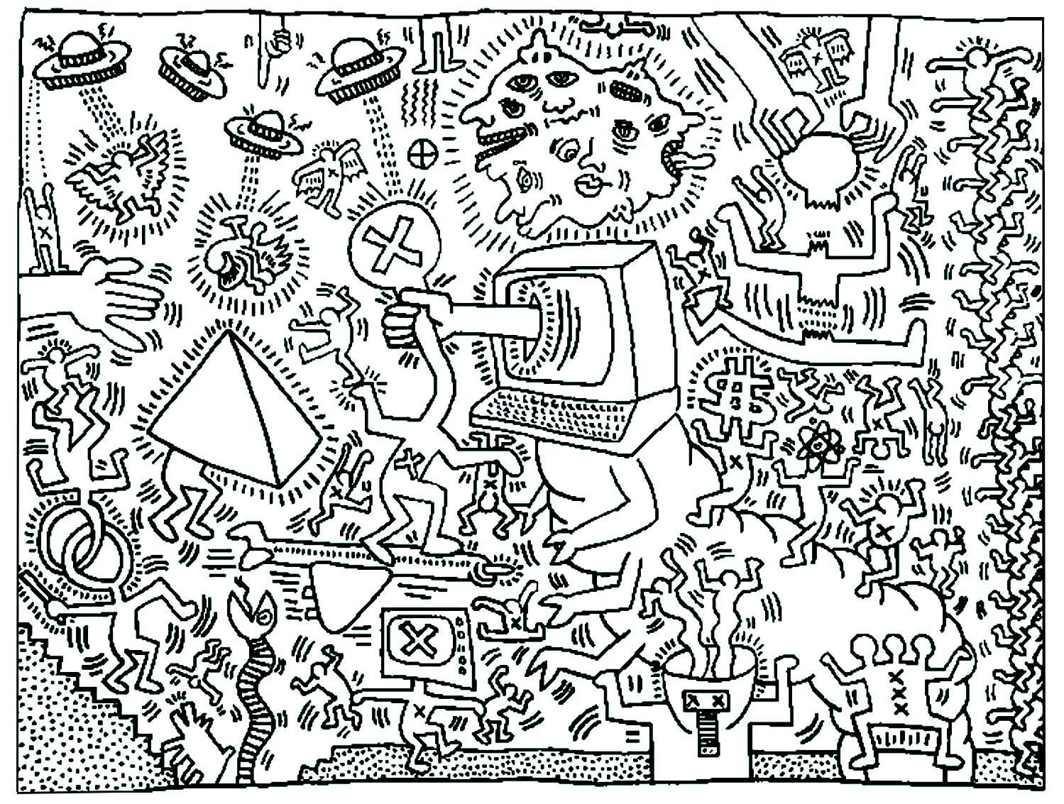 Keith Haring 5 Pop Art Coloriages Difficiles Pour Adultes