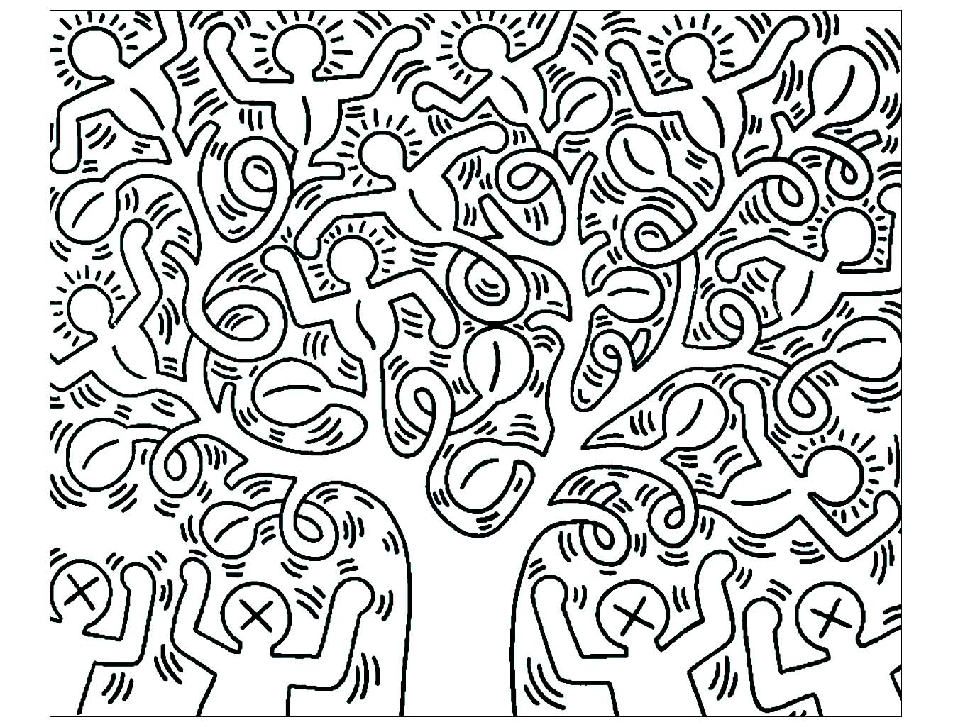 Un arbre composé des fameux personnages de l'artiste