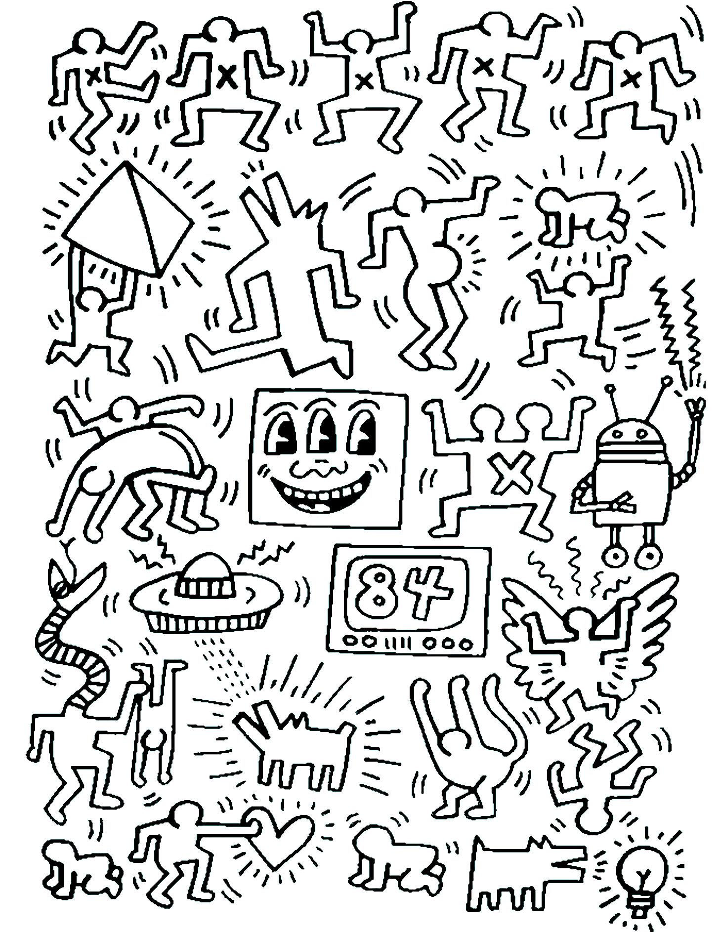Coloriage créé à partir d'une oeuvre de Keith Haring. Complètement halluciné !