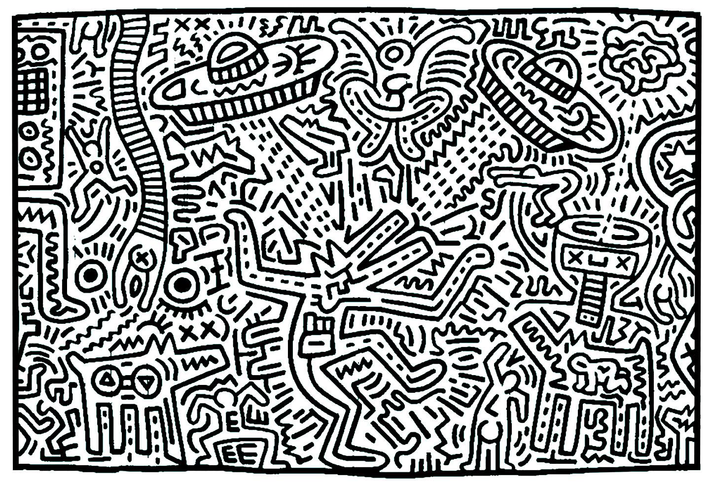 Coloriage créé à partir d'une oeuvre de Keith Haring. Trouvez vous la soucoupe volante ?