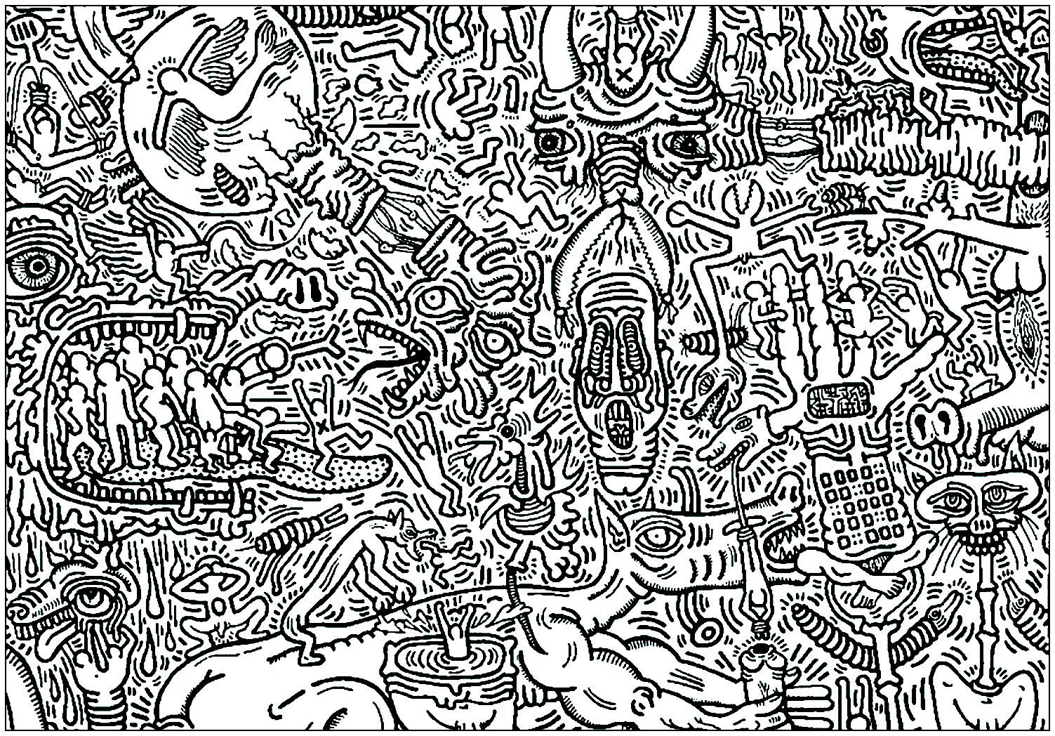 Coloriage créé à partir d'une oeuvre de Keith Haring. Il vous en faudra du temps pour venir à bout de celui-là