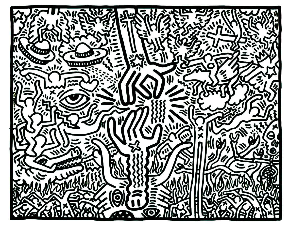 Les fameux bonhommes simplistes du peintre moderne Haring : à vous de choisir les couleurs les plus POP pour leur donner vie !