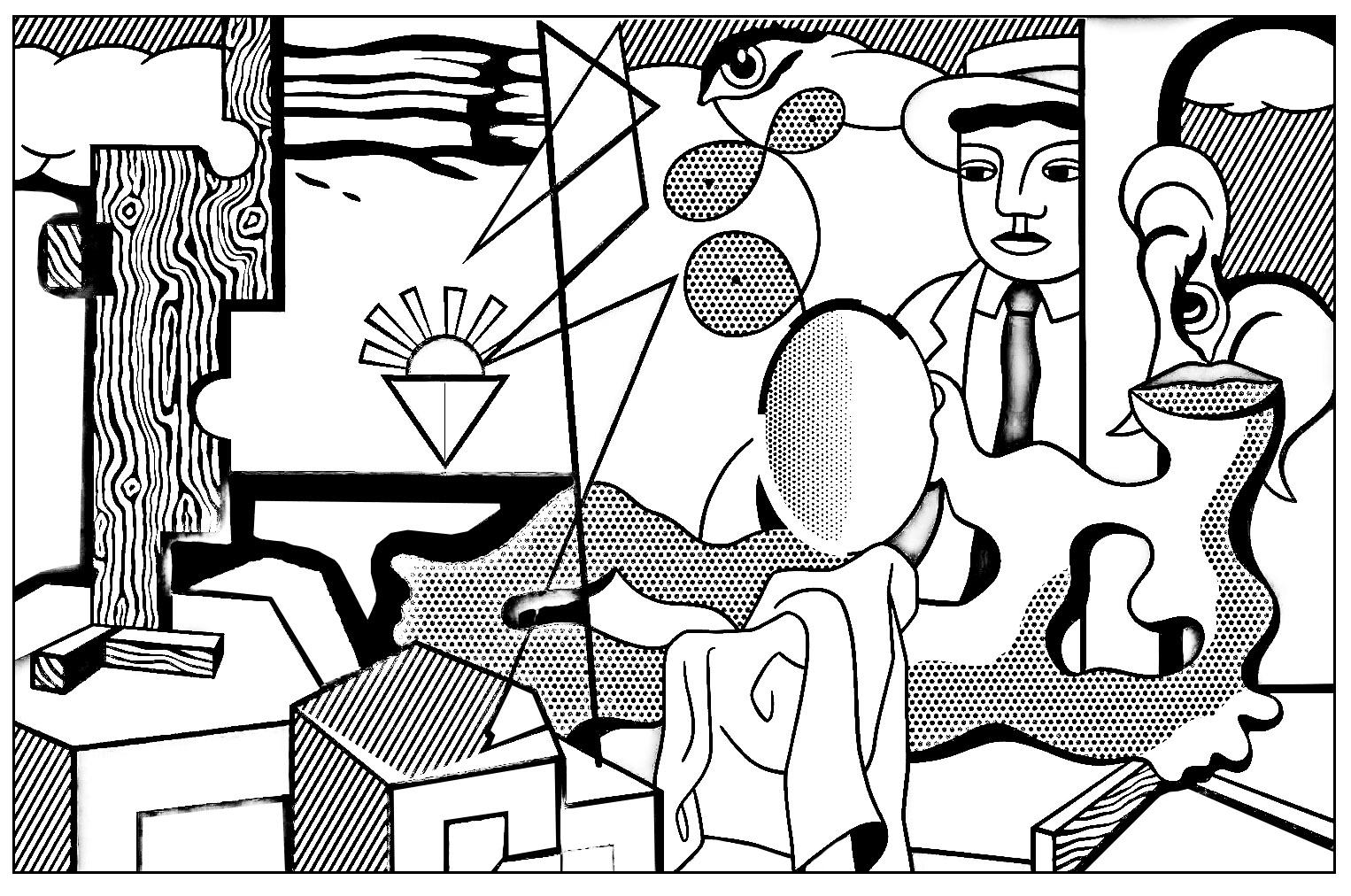 Coloriage créé à partir de l'oeuvre de Roy Lichtenstein 'Icônes américaines' (1978)