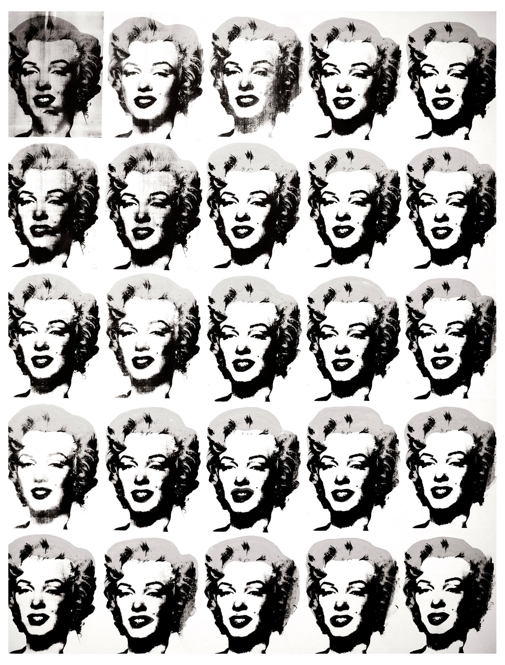 'Twenty-Five Colored Marilyns' par Andy Warhol, mais sans couleur ! à vous de les rétablir, selon votre humeur du moment