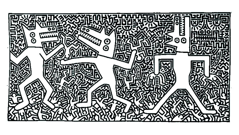 Image à imprimer de Haring, et à colorier : beaucoup de petits détails !