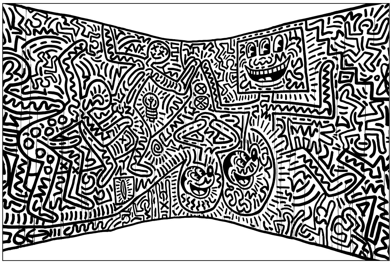 Une Fresque noir & blanc de Haring, à colorier pour la rendre la plus folle possible !