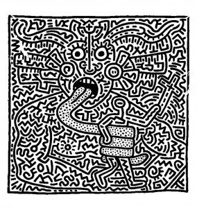 Coloriage adulte keith haring 1