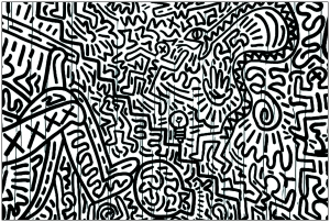 Coloriage adulte keith haring 11