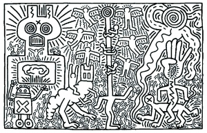 Coloriage adulte keith haring 2