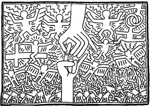 Coloriage adulte keith haring 3