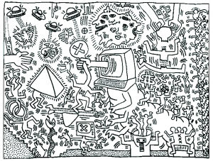 Coloriage adulte keith haring 5