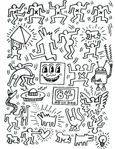 Coloriage adulte keith haring 7