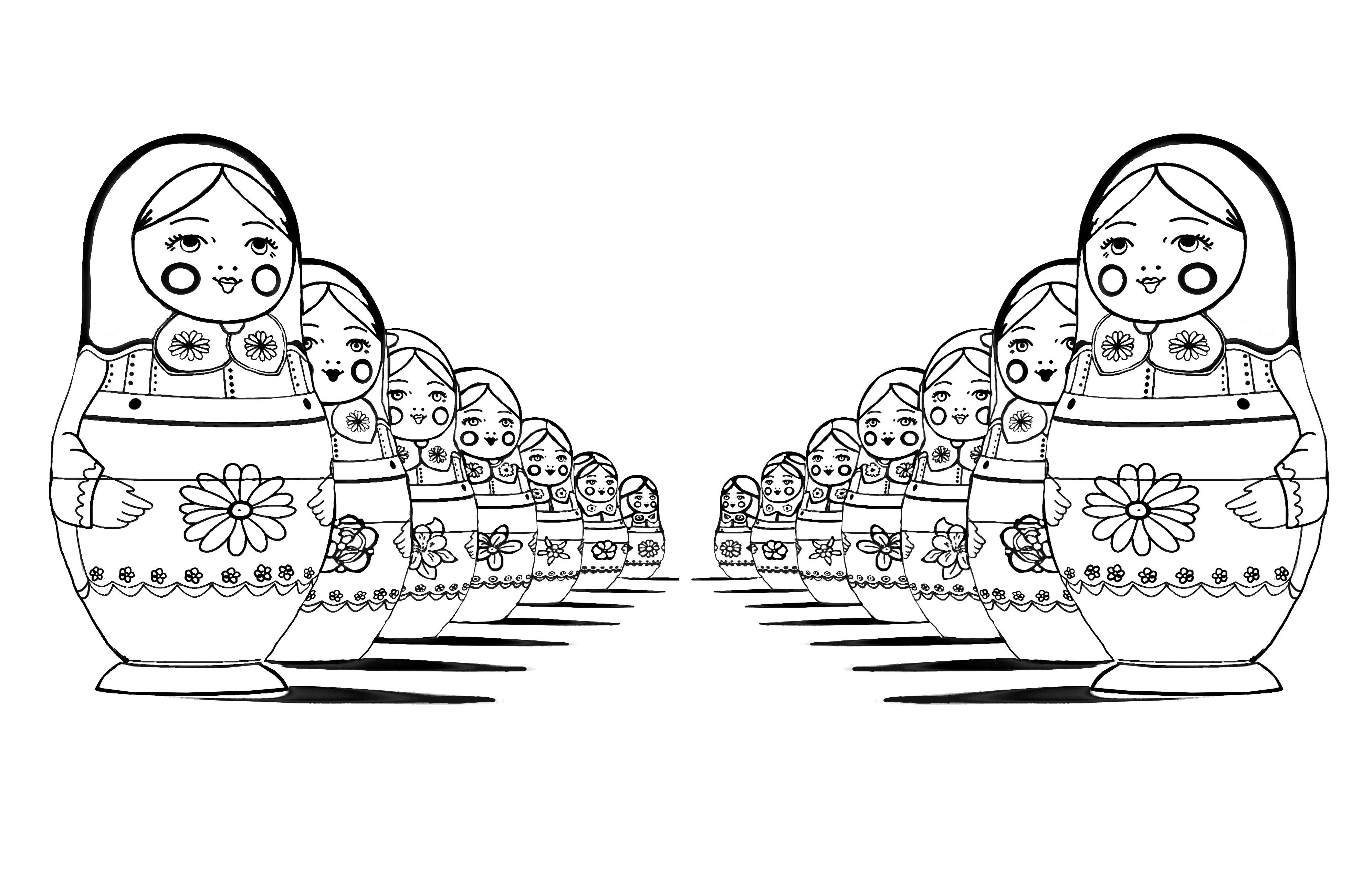 Poupées russes avec effet de perspective : version miroir