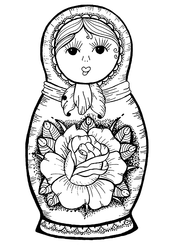 Coloriez cette jolie poupée russe dessinée à la main, avec une grande fleur en son milieu