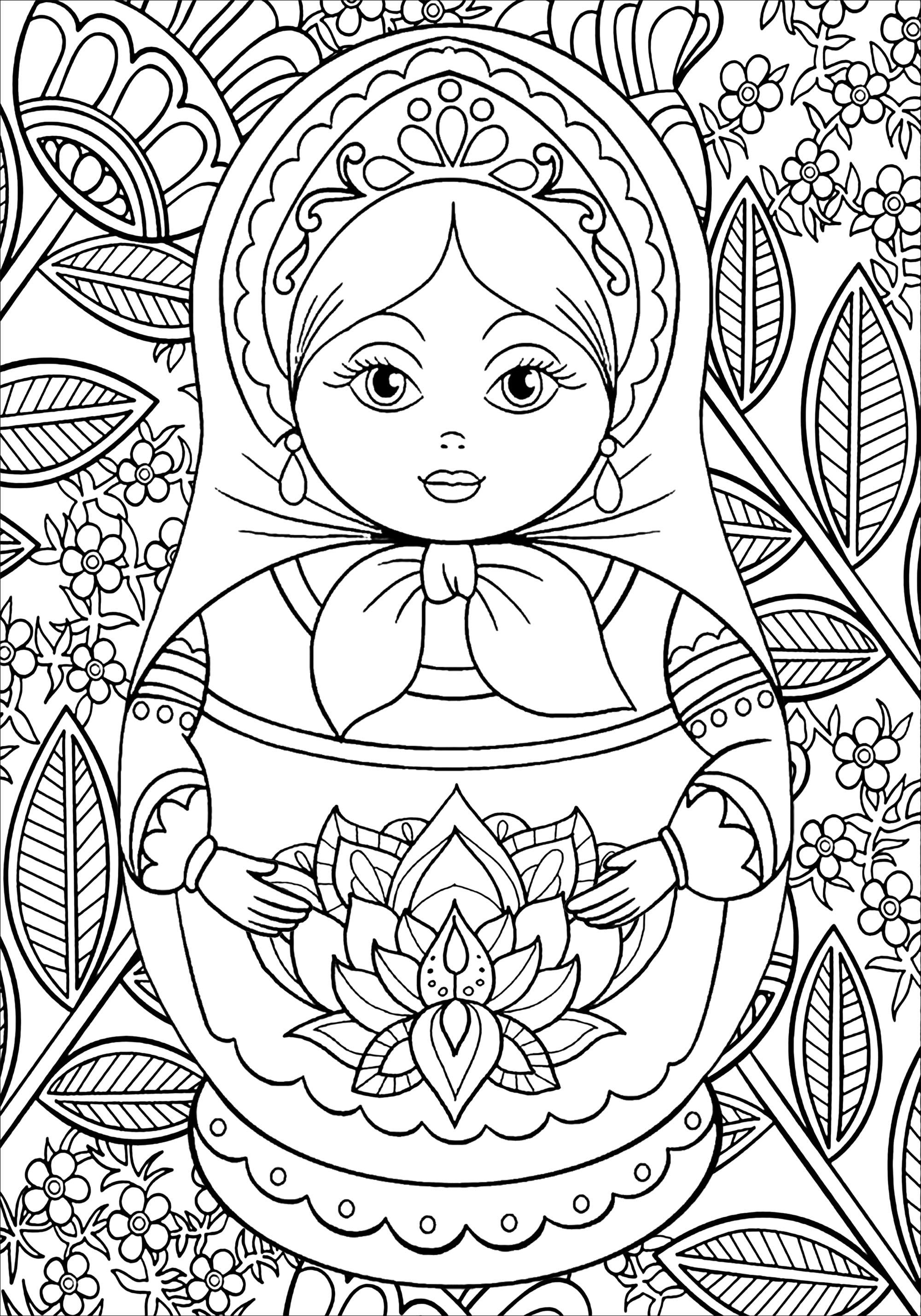 Sublime poupée russe à colorier, avec nombreuses fleurs, feuilles et autres motifs végétaux
