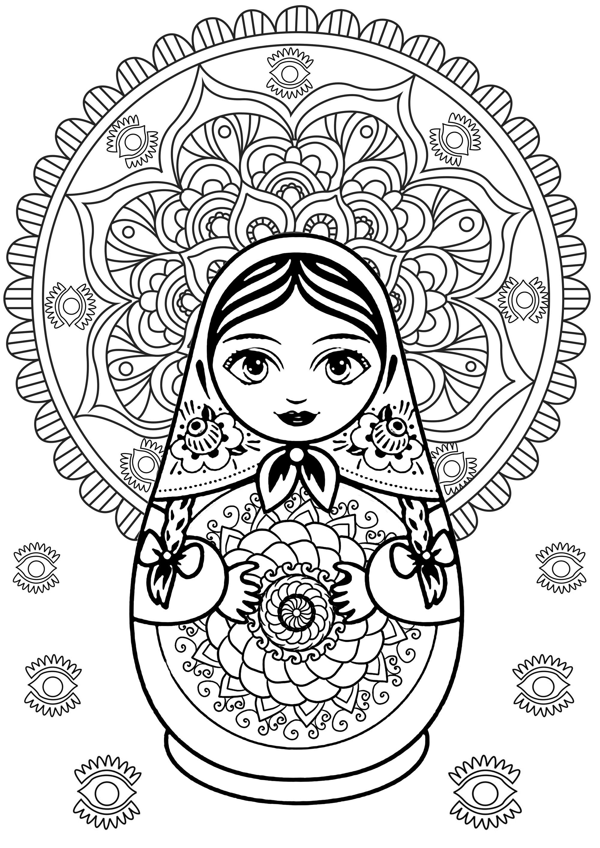 Poupée russe, jolis Mandalas (un au milieu et un en fond), et jolis motifs