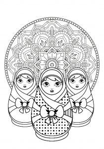 Trois poupées russes et Mandala