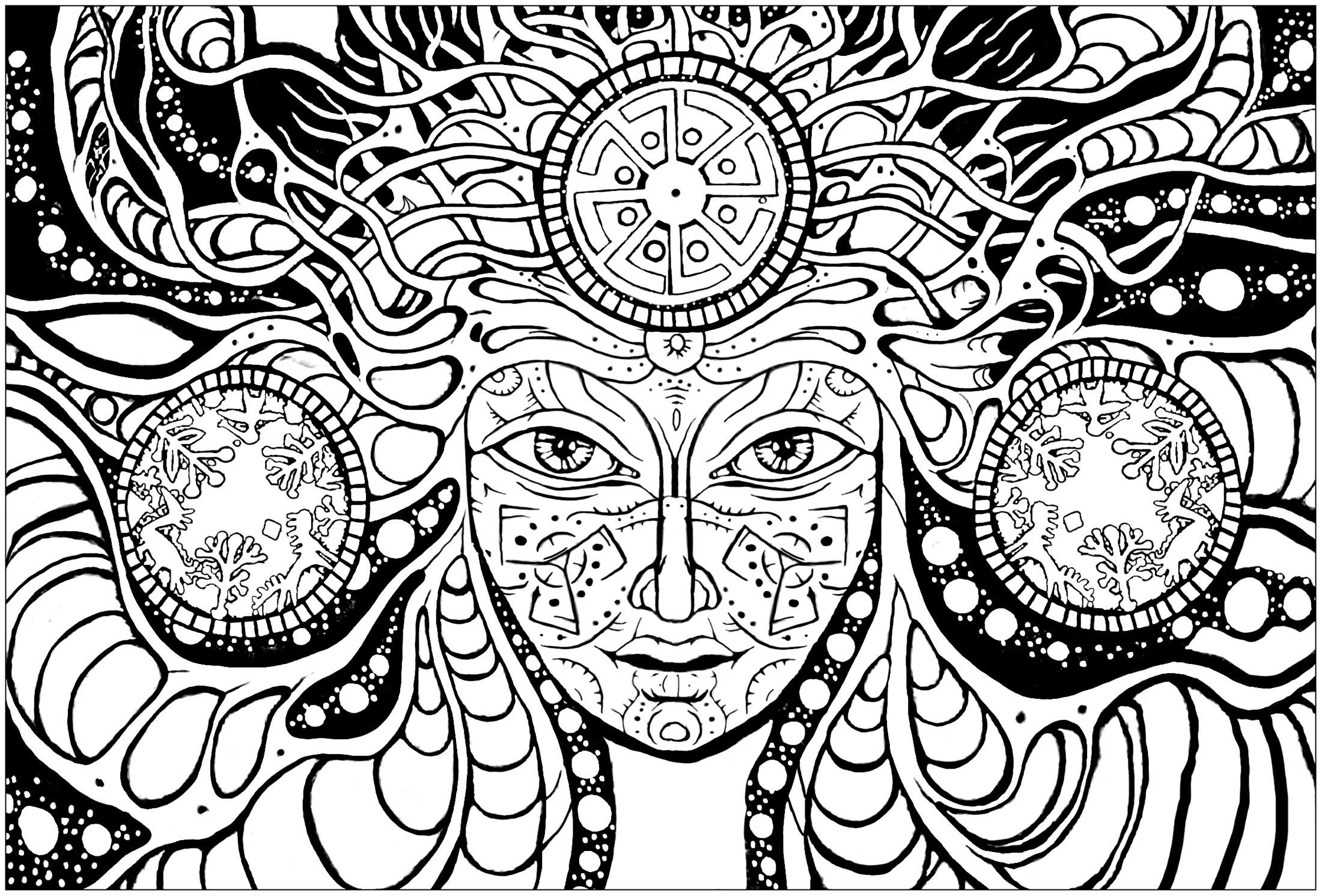 coloriage anti stress psychédélique
