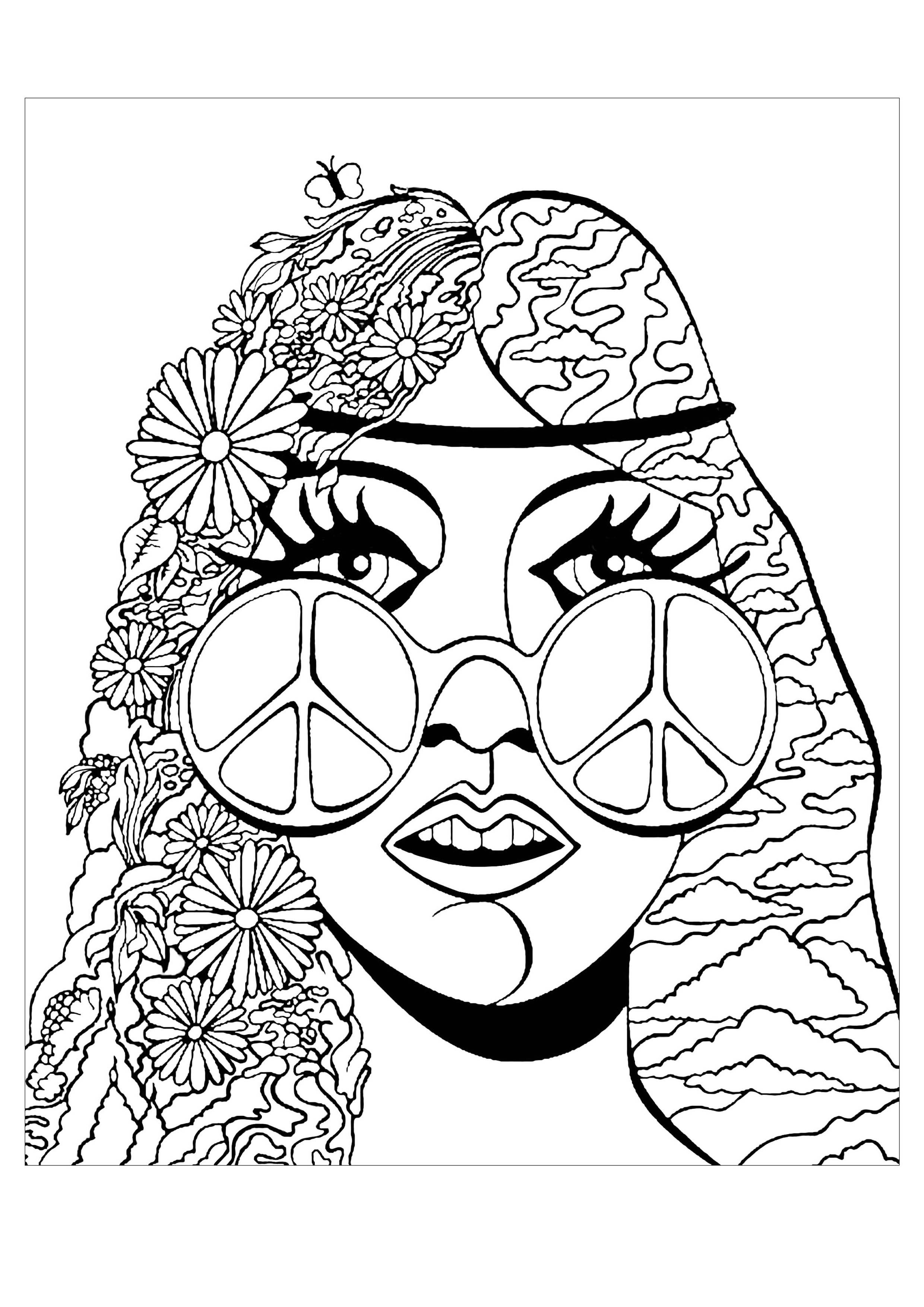 coloriage fille psychedelique et papillon hippie aux lunettes peace love avec un papillon - Coloriage Fille