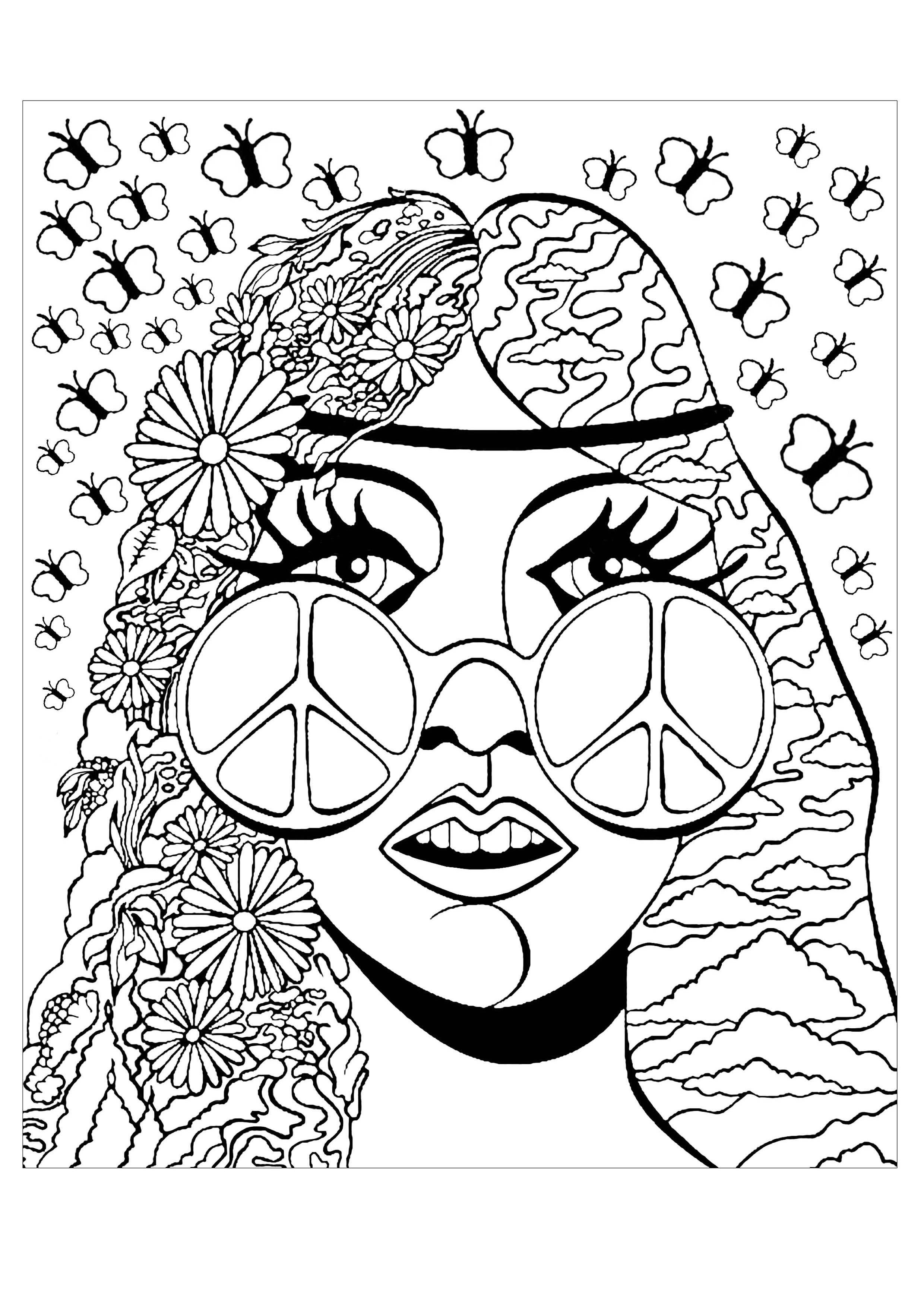 Hippie aux lunettes Peace & Love (avec plusieurs papillons)