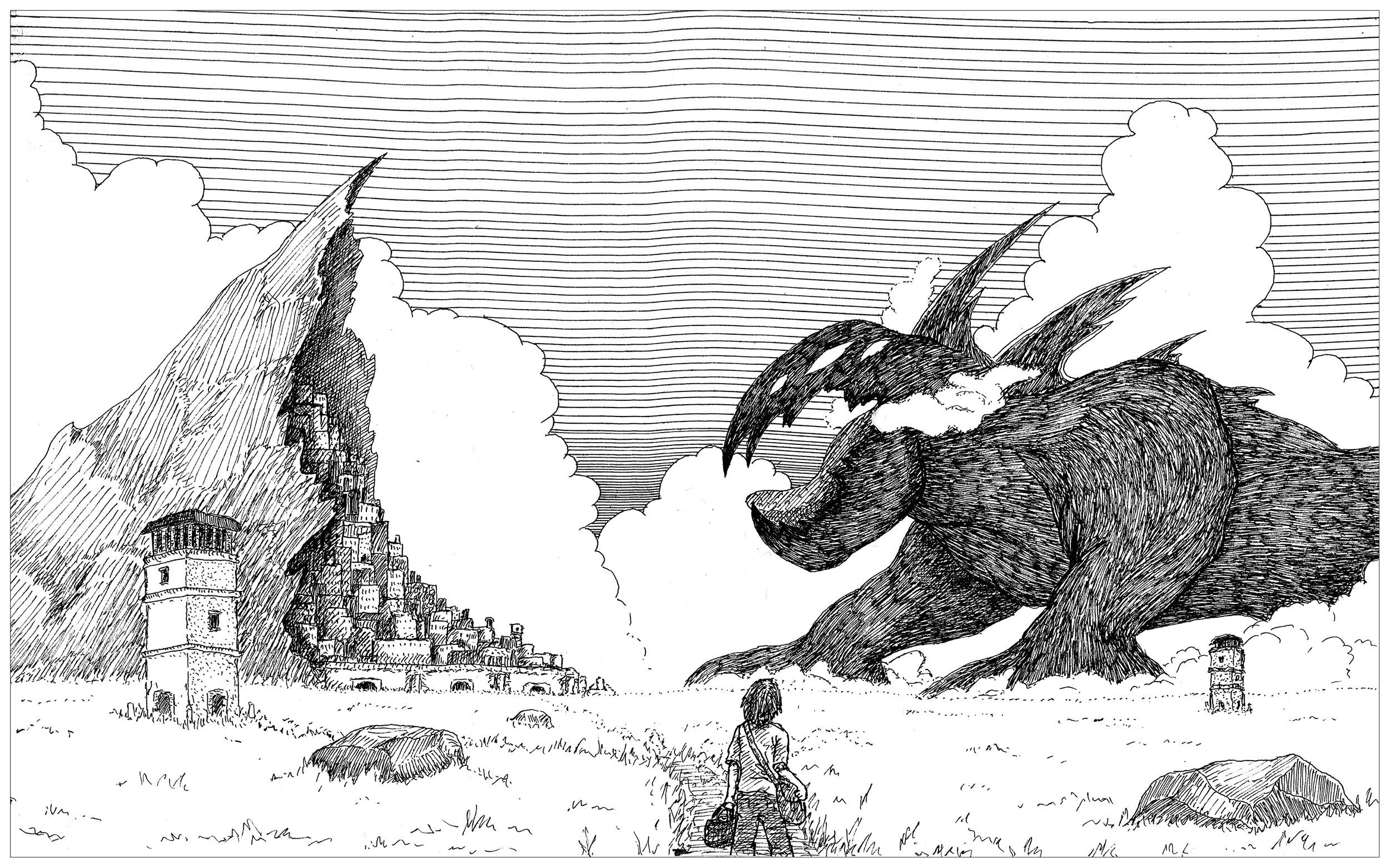 Monstre géant prêt à détruire une ville bâtie dans un rocher sur Instagram