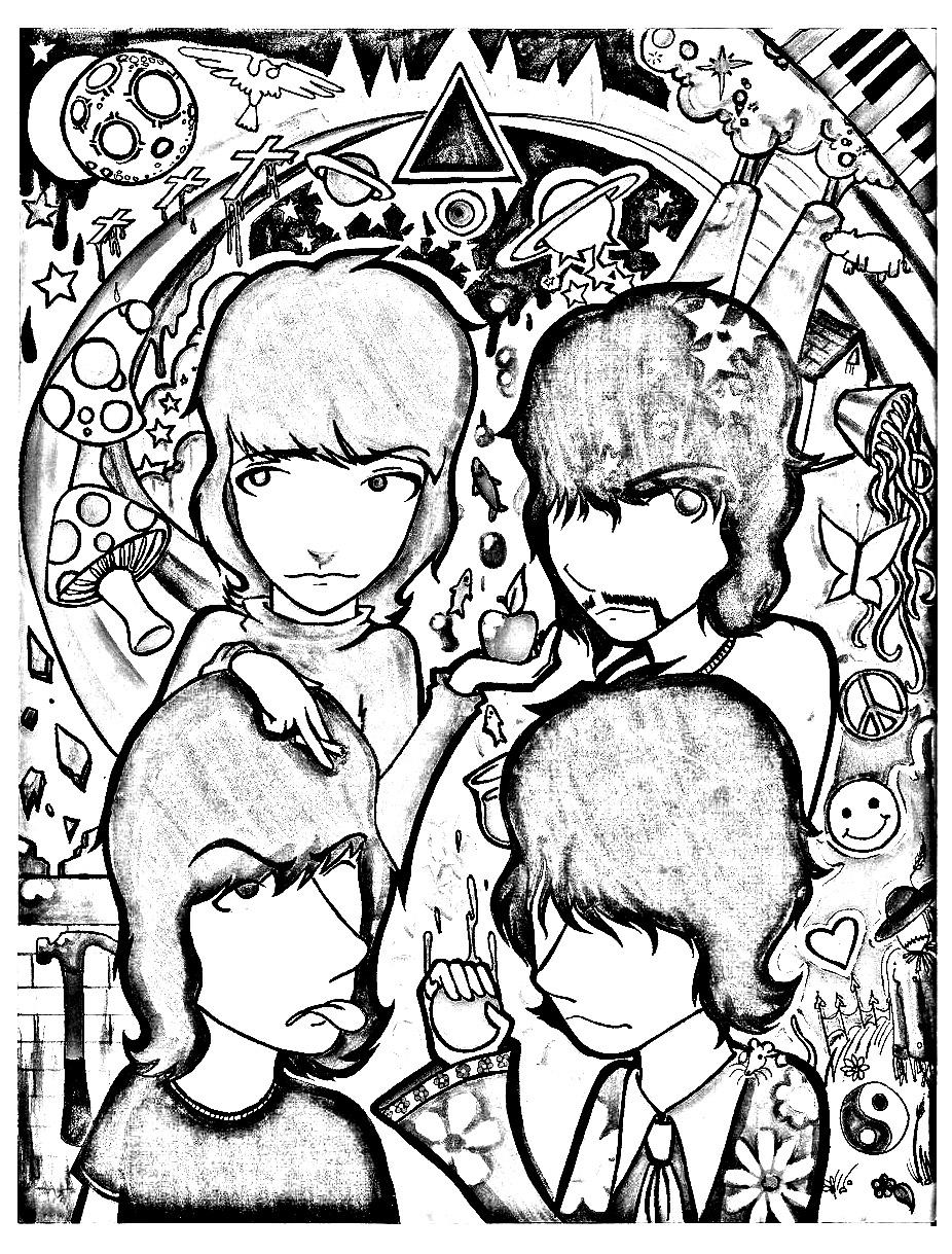 Dessin inspiré du groupe de rock psychédélique le plus emblématique des années 70 : Pink Floyd !
