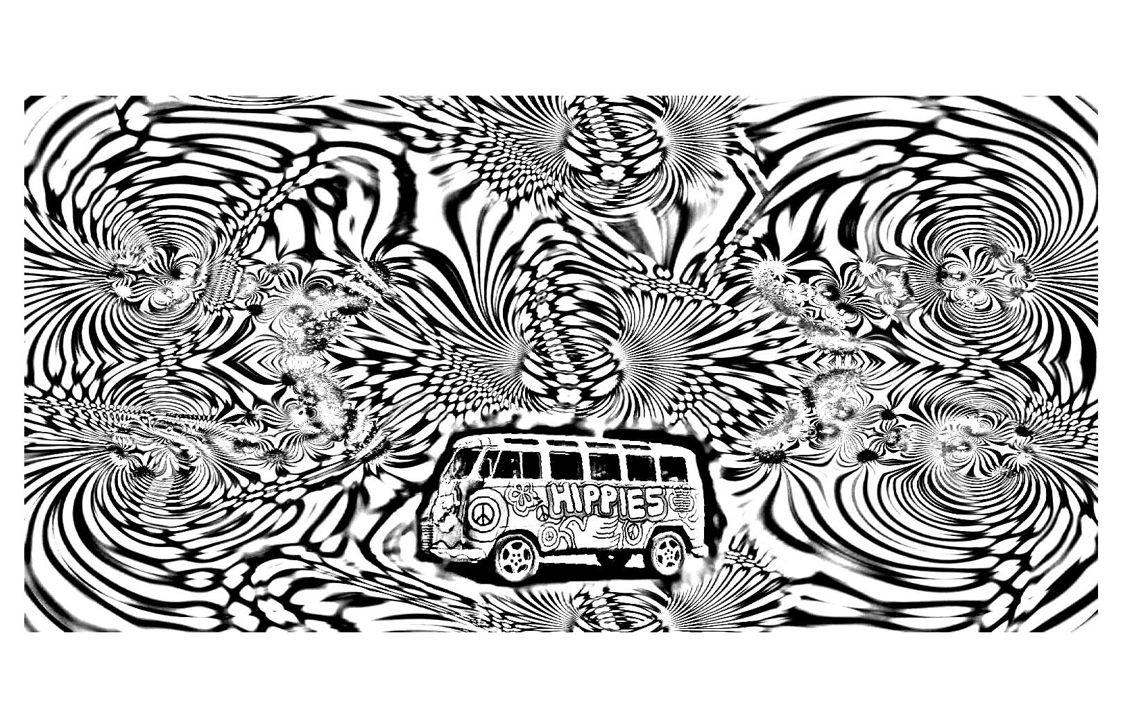 Commencez par ce petit bus hippie puis laissez votre esprit choisir les couleurs du fond ...