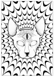 coloriage-adulte-chat-sphynx-psychedelique-par-louise free to print