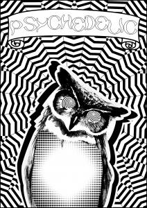 Coloriage adulte hibou psychedelique par allan