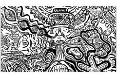 Coloriage adulte poisson et pied psychedeliques
