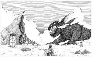 Coloriage monstre et village rocher