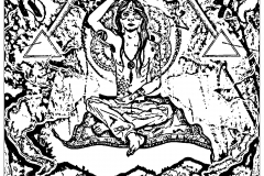 Coloriage psychedelique moine symboles illuminati