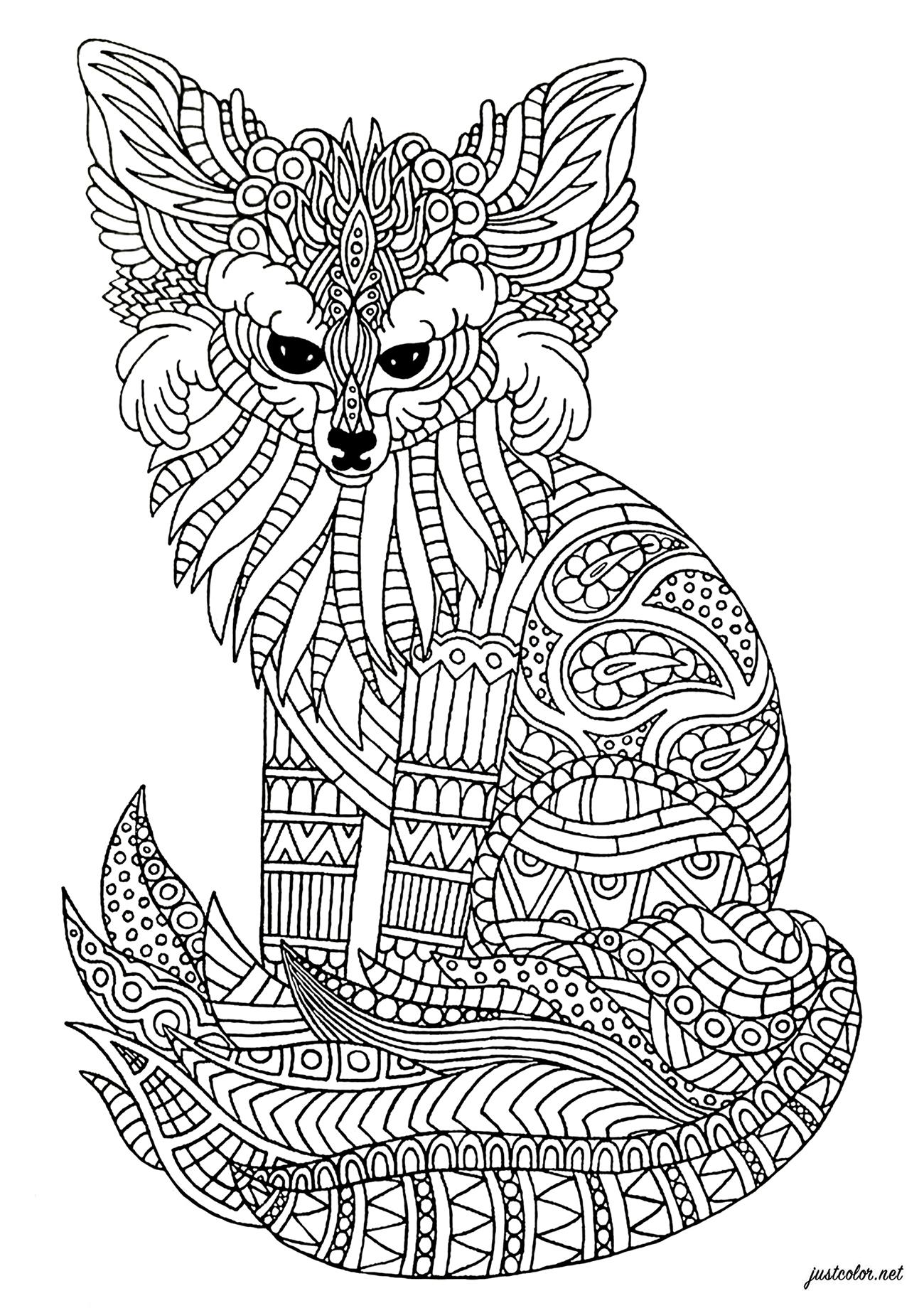 Coloriez ce renard des sables aux motifs Zentangle complexes et détendez-vous ...