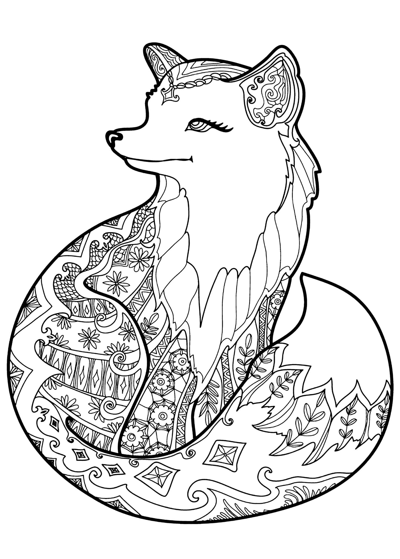 Un beau renard à colorier plein de jolis motifs