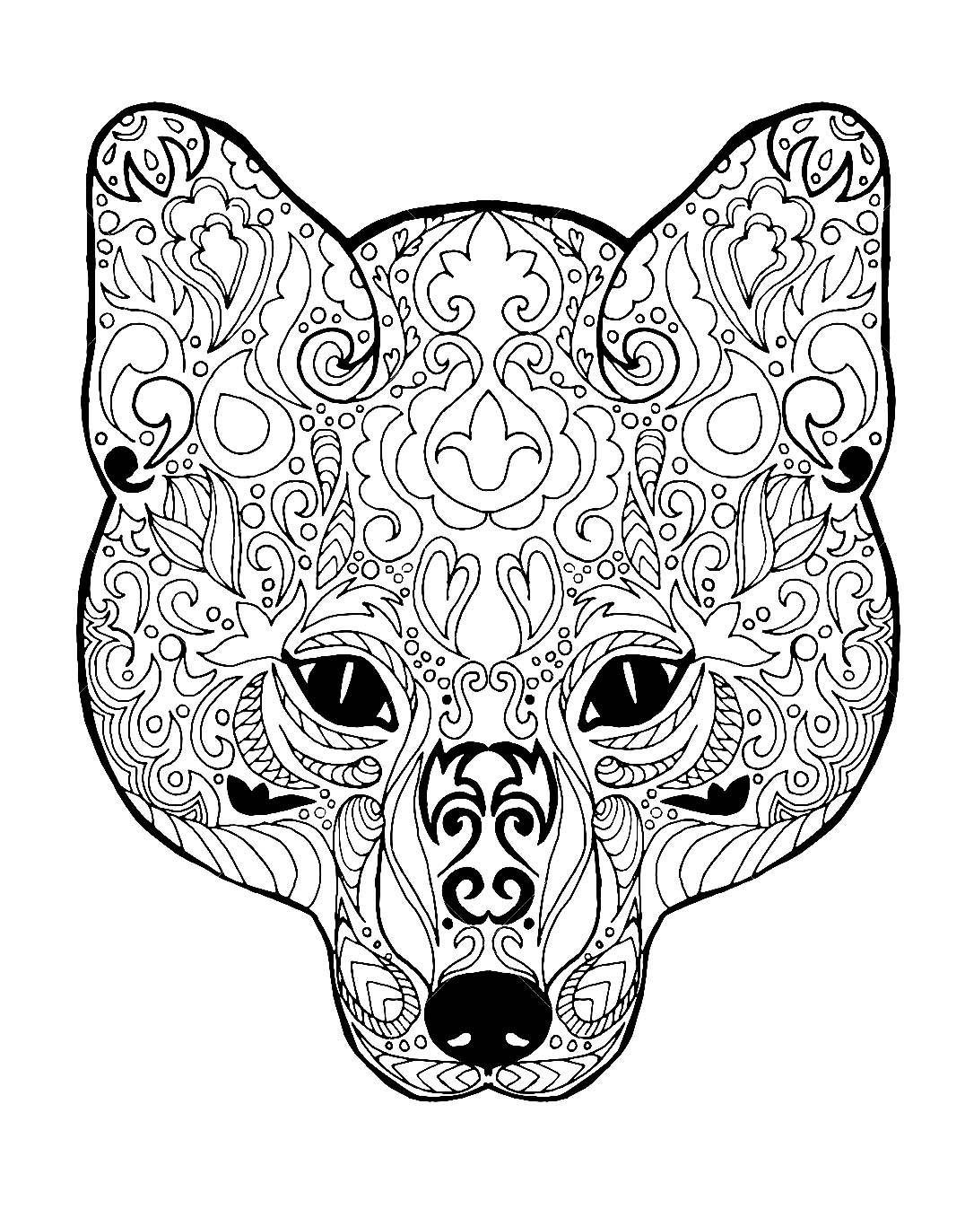 Tete de renard avec motifs renards coloriages difficiles pour adultes - Masque de renard a imprimer ...