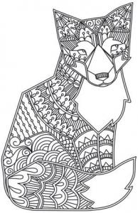 Coloriage adulte animaux renard