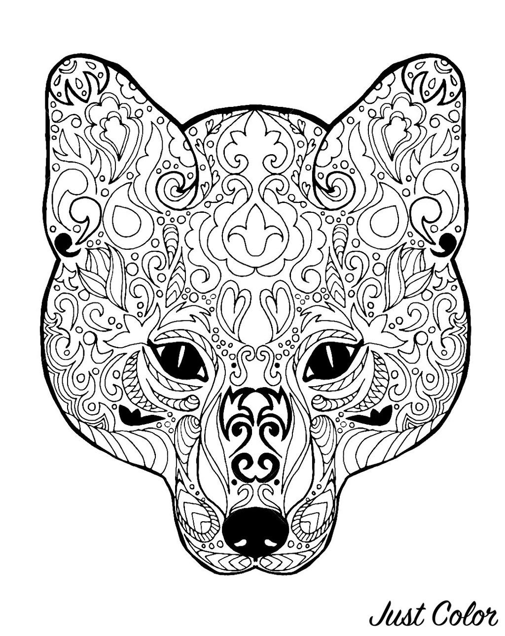 Tête de renard avec motifs simples