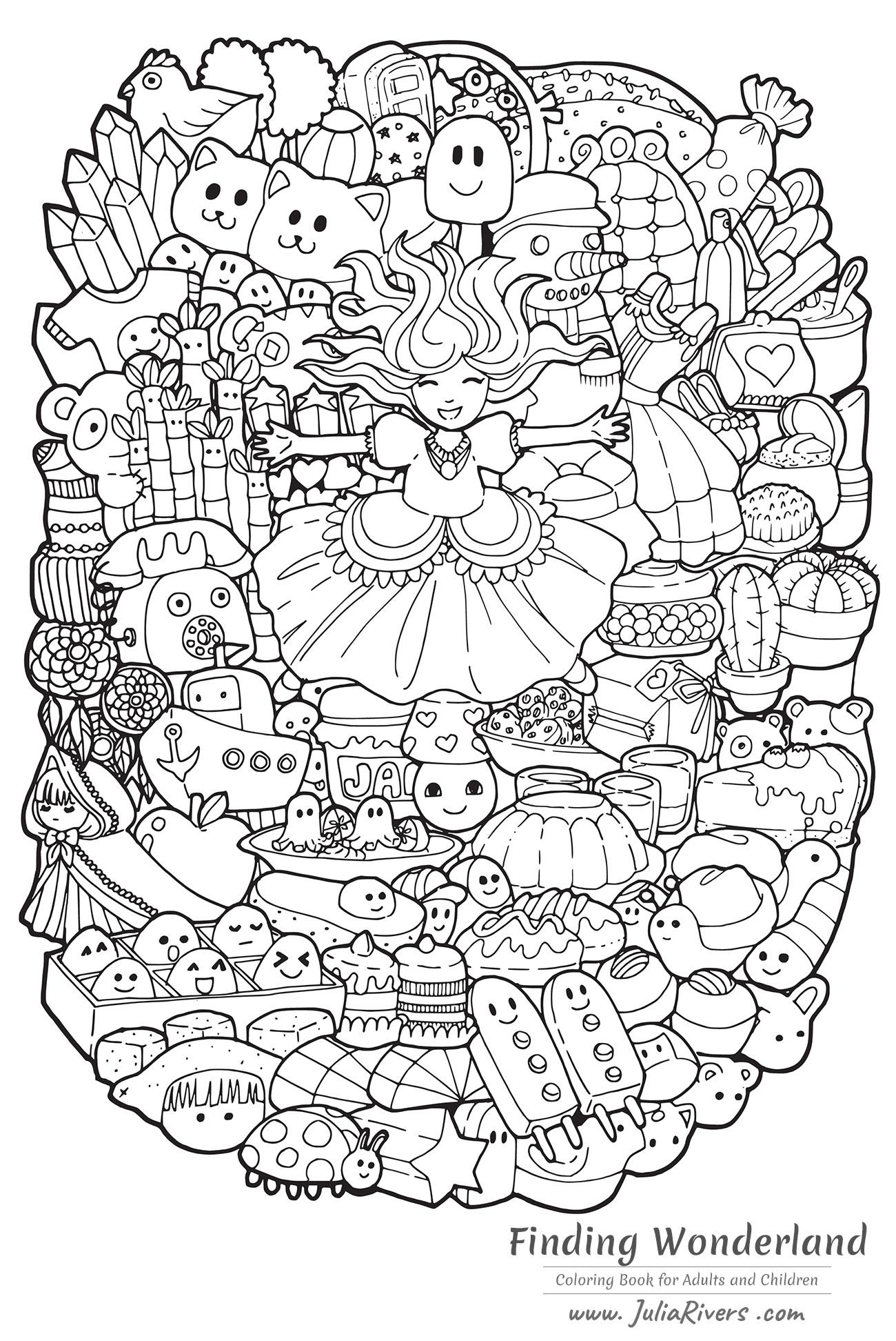 'A la recherche du pays des merveilles' : Coloriage enfantin représentant une Princesse joyeuse entourée de créatures 'Doodle' dessinées avec le style Kawaii