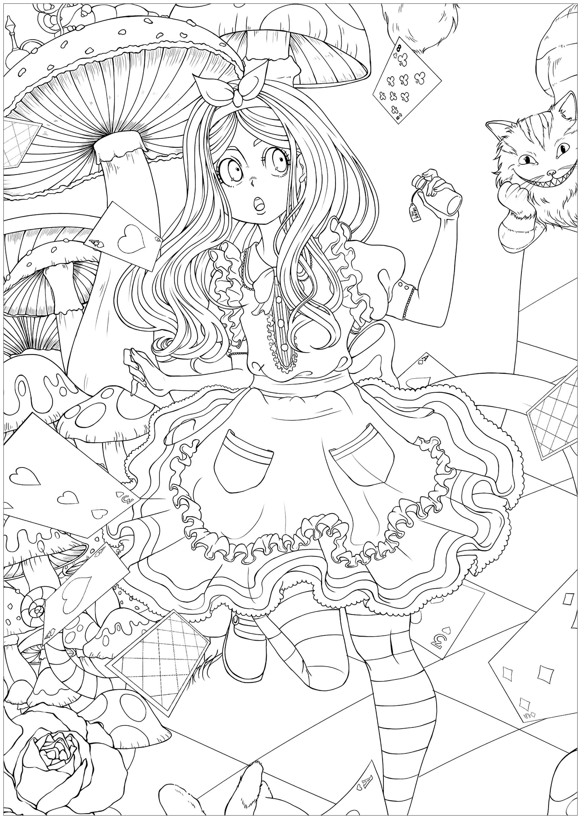 Plongez au coeur du pays des merveilles en compagnie de la jeune Alice, du lapin blanc et du Chat de Cheshire (dans un cadre plus serré)