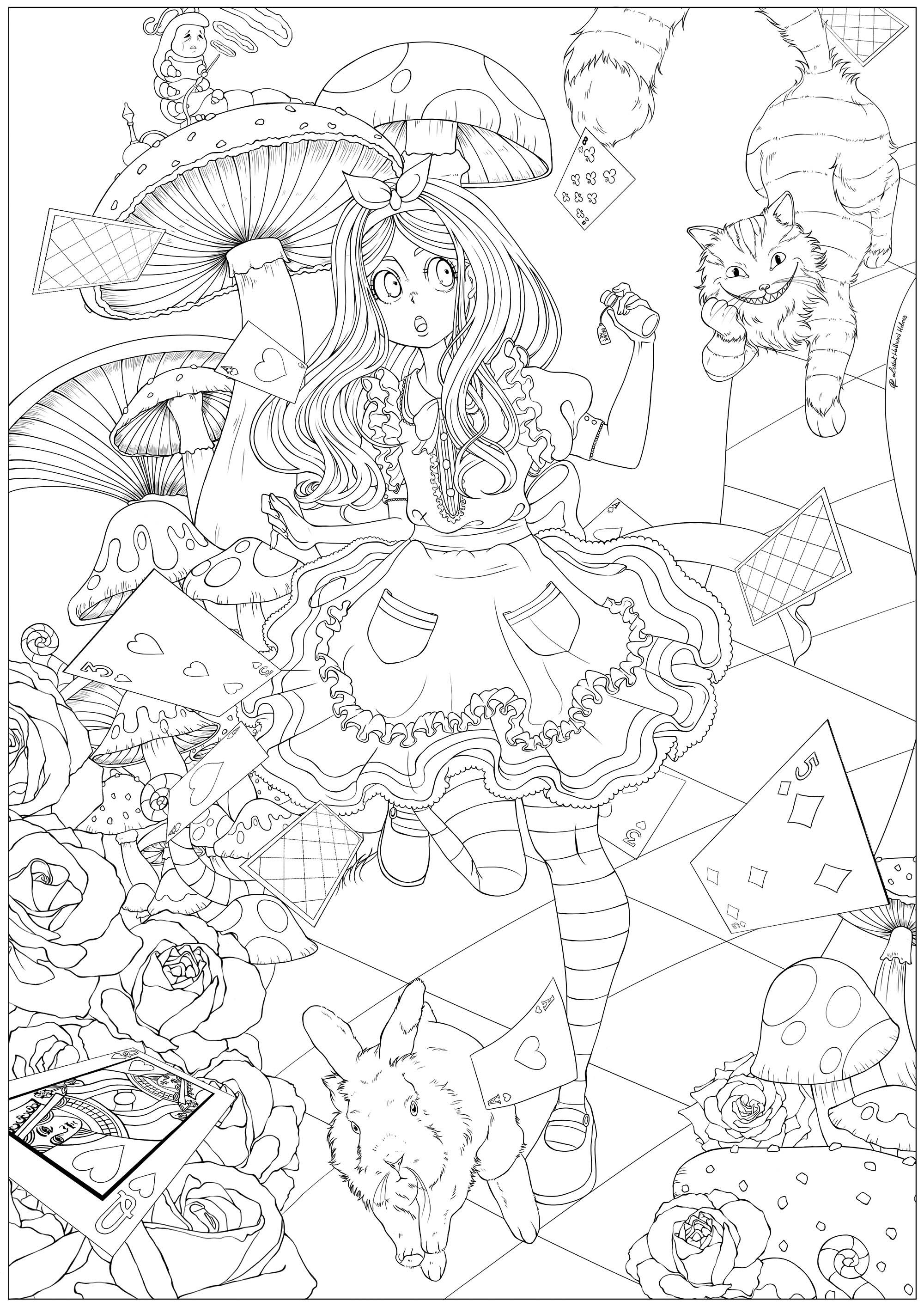Alice Au Pays Des Merveilles 1 Retour En Enfance Coloriages Difficiles Pour Adultes