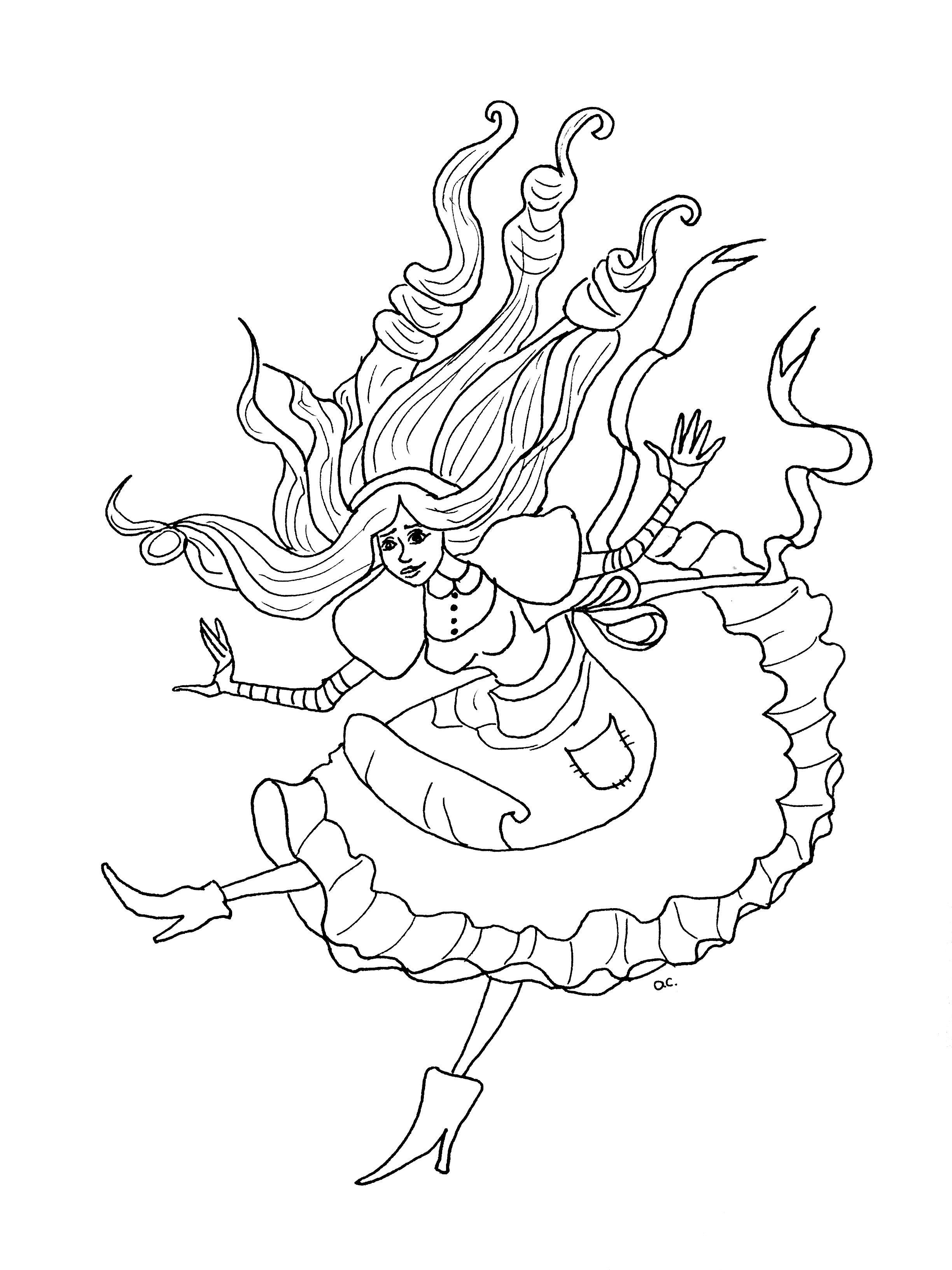 Coloriage original inspiré par Alice au pays des merveilles (version 1 sans objets)A partir de la galerie : Retour En EnfanceArtiste : Olivier