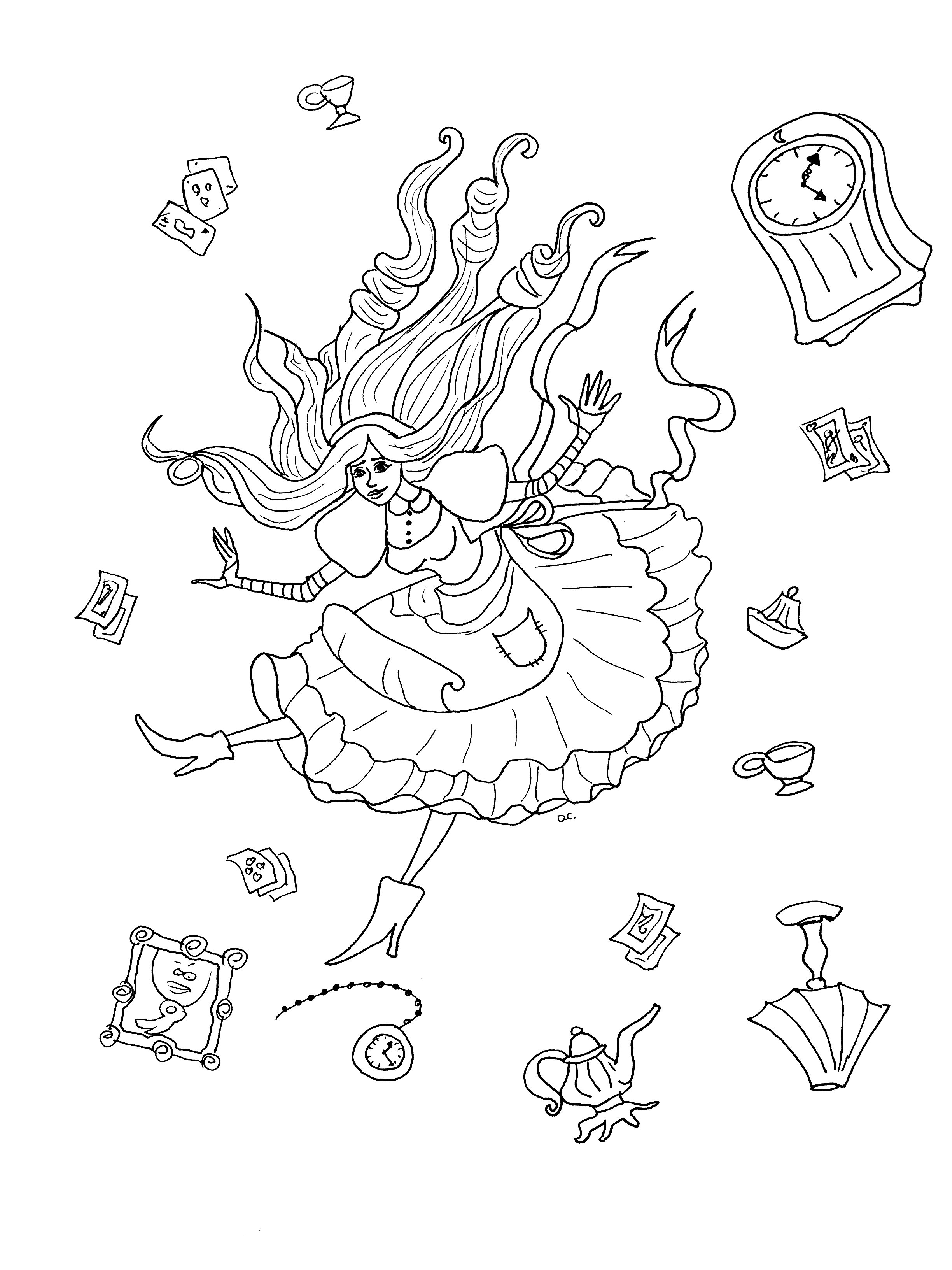Coloriage original inspiré par Alice au pays des merveilles (version 2 avec objets) | A partir de la galerie : Retour En Enfance | Artiste : Olivier