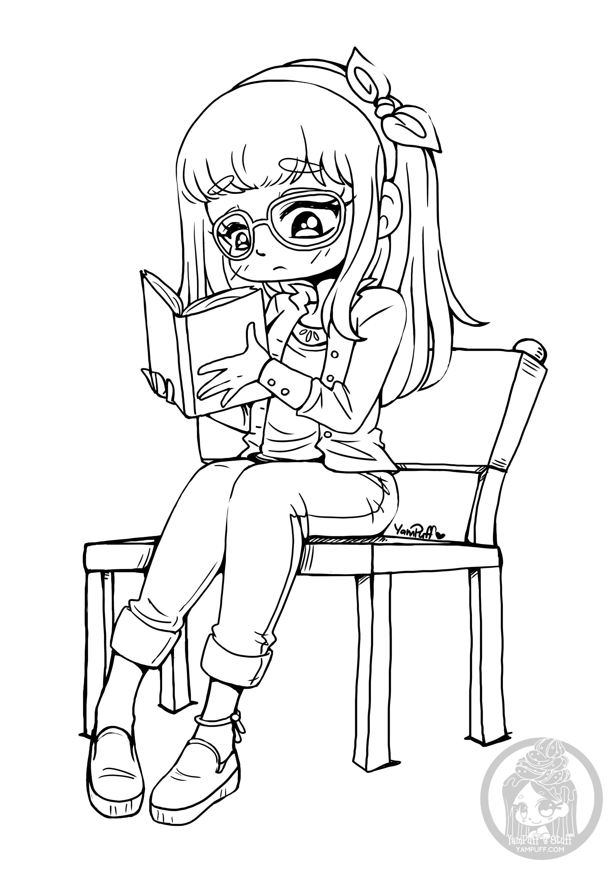 Coloriez la dans le calme pour ne pas déranger cette fille qui lit!