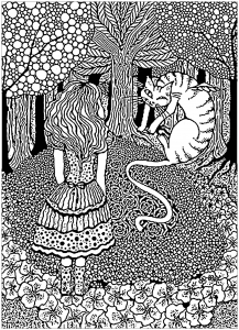 coloriage adulte alice et chat cheshire dans arbre