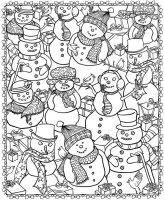 Coloriage adulte noel bonhommes de neige