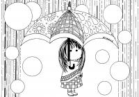 coloriage adulte petite fille sous la pluie par azyrielle